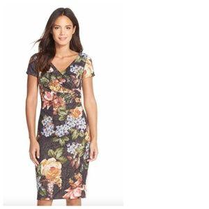 Adrianna Papell Metallic Floral Sequin Dress Sz 2